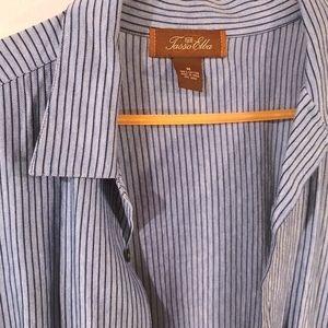 Medium Tasso Elba Men's Stripped Dress Shirt